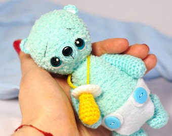 Blue Knitted bear Blue baby toy bear Knitted teddy bear Baby Toy bear Crochet bear Teddy bears for sale Knitted baby's dummy