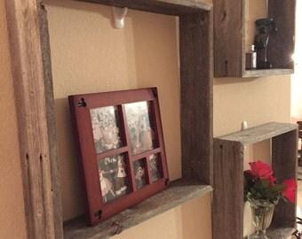 Reclaimed Wood Square Shelf Set