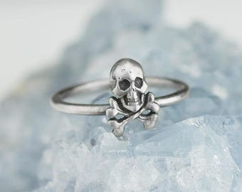 Sterling Silver Skull and Crossbones Ring Solid .925 Rings Custom Size