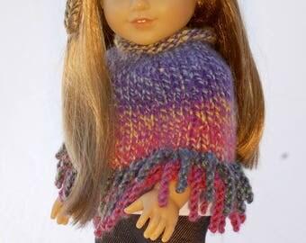 American Girl 18 inch doll poncho in rainbow