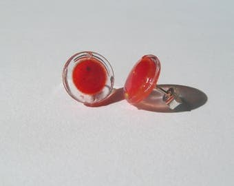 Resin, Plastic and Silver Stud Earrings - Red and yellow