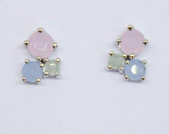 Earrings silver pink blue green wedding bride Bridal jewelry