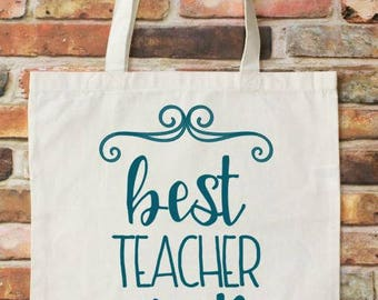FREE NAME PERSONALIZATION - End of the Year Teacher Gift - Teacher Appreciation - Teacher Gift - Teacher Tote - Best Teacher Ever
