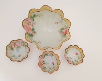 Vintage Nippon Double-T-in-Diamond Hand Painted Four Piece Scalloped Edge Nut Bowl Serving Set