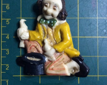 magician with top hat and doves plastic pin