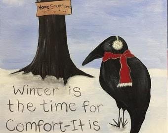 Winter Crow Original Painting