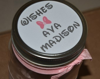 Wish Jar - Minnie Mouse Inspired - Pink with white polka dots