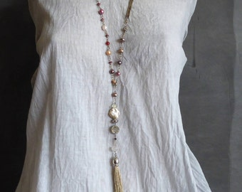 Extra Long necklace, boho style, long necklace with footrope
