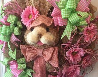 Easter Bunny Deco-mesh Wreath