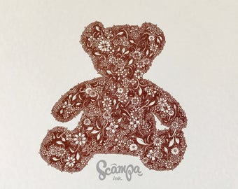 Original hand drawn, ink print illustration of a beautifully detailed brown Teddy Bear. Framed