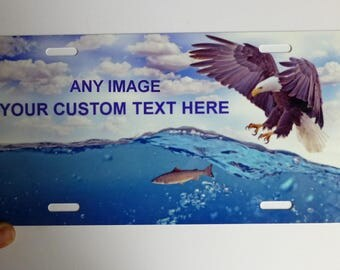 Custom personalized license plate, images, textures, text, and colors