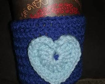 Coffee Cup Cozy with Heart embellishment