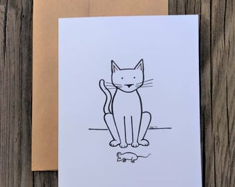Thank You Card - Cat with Dead Mouse