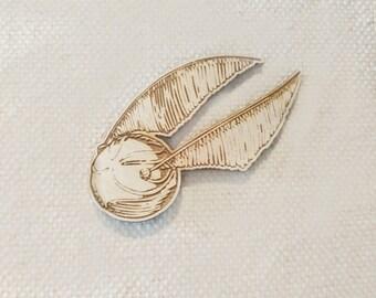 Golden Snitch   Harry Potter Badge   Gift / Present   Laser Cut   Wood