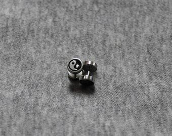 Helix tragus piercing, loop Stud YingYang, surgical steel earrings