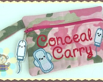 Conceal Carry Tampon & Maxi Pad Zippered Fabric Tampon Clutch Wristlet Purse Pouch