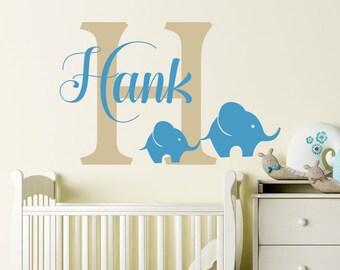 Name Wall Decals Elephant Vinyl Decal Boy Name Decal Baby Children Elephant Vinyl Nursery Bedroom Monogram Elephant Baby Wall Art Decor S74