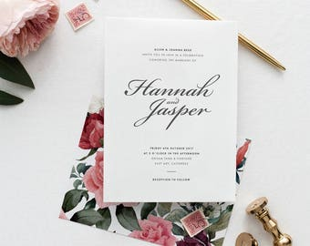 Rustic Modern Floral Wedding Invitation Suite Deposit - Vintage Garden Rose Blush Wedding Stationery Set