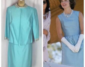 Vintage 60's Jackie Kennedy Bridal Blue Silk Dupioni Rhinestone Roll Neck Dress Suit.