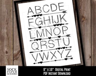 Printable Nursery Art Print, Printable Print, Printable ABC Art, Arrow Wall Art, Nursery Wall Art,  PDF Digital Download, Sku-RNA104