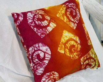 Pink and Gold Batik Pillow Cover/Handmade/Original Design/Cotton/Accent Pillow/Interior/Decor/Eco Friendly/Housewarming Gift/One-of-a-kind