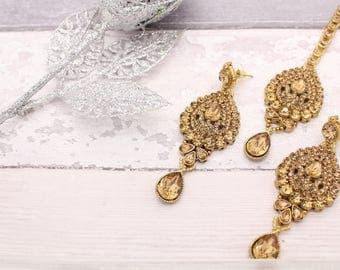 Antique Gold Stone Indian Bollywood Tikka Headpiece & Earring Set Wedding Bridal set