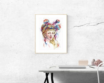 Jellyfish Watercolor Portrait Fine Art Print