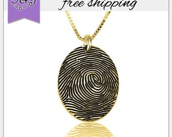 FREE SHIPPING* Gold Plated Fingerprint Necklace • Personalized Fingerprint Necklace • Meaningful Mother's Day Gifts • Fingerprint Pendant
