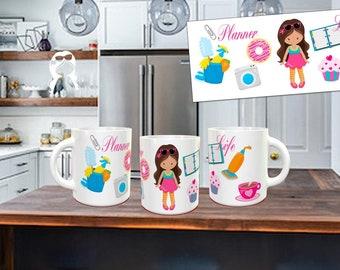 Planner Girl Coffee Mug, Cute Coffee Mug, Mom Coffee Mug, Gift For Her, Gift for Planner Lover, Planner Stickers, Planner Coffee Mug