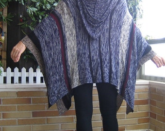 Poncho in blue tones. Poncho with hood in blue tones. Wide poncho with hood in blue tones