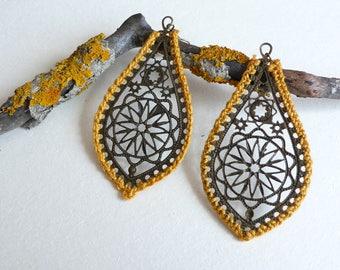 Gold Crochet Earrings, Statement Lace Jewelry, Boho Chic Dangle Earrings, Gift for Her