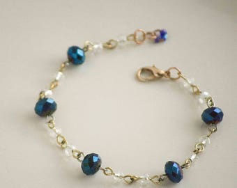 Blue & Clear Glam Bracelet