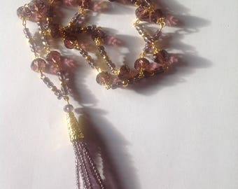 Long Amethyst crystal glass necklace tassel necklace long necklace flapper necklace purple necklace beaded necklace handmade necklace