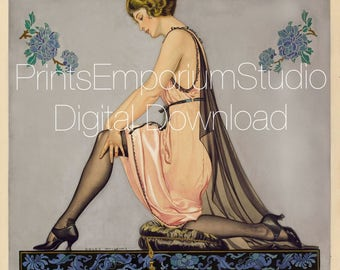 Pin up girl print Kneeling woman in slip digital download painting Gouache artwork Flirt Wall Decor Print-it-Yourself instant Download