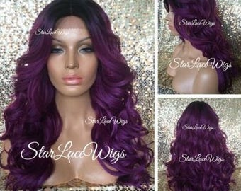 Long Curly Fuchsia Purple Wig - Dark Roots - Layers - Middle Part - Heat Resistant Safe - Cosplay Wig