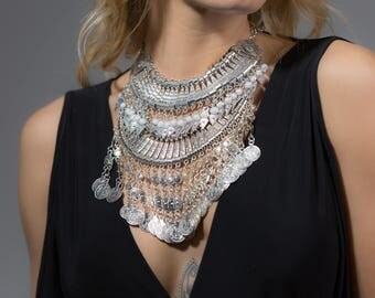 RADA X CELESTE Silver Coin Statement Necklaces