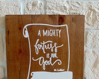 "Wooden sign ""A mighty fortress"" (handmade)"