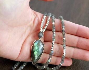 Silver Labradorite Arrowhead Gemstone Necklace