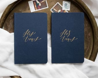 Calligraphy Vow Books, Navy Blue (Set of 2)