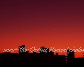 Sunset, Silhouette, Building, City, Downtown, Sunrise