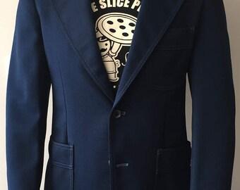 1970s Levi's Panatela Blue Polyester Blazer — Size 40R