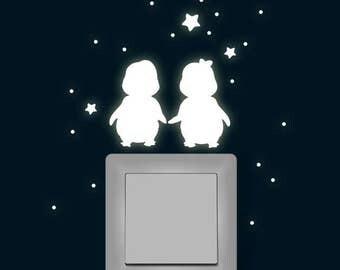 Luminous stickers penguins star fluorescent M1367