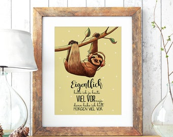 A3 Print Illustration Poster Sloth much to do P66