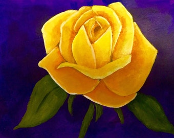 Yellow Rose Painting, Wall Art, Home Decor, Fine Art, Gift