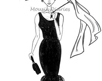 Audrey Hepburn, Breakfast at Tiffany's, Glamour Hollywood, Handmade Illustration, Wall Art, Ink Drawing