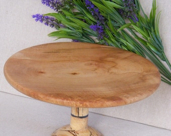 Cake stand/ fruit platter, in sycamore with recycled beech wood base and resin band, unique gift oneoff present, table decoration, centre pi