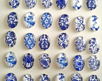 Lot/6-15-30Pcs 13X18mm Cabochon Mix Blue and white porcelain Image Oval Cabochons Findings