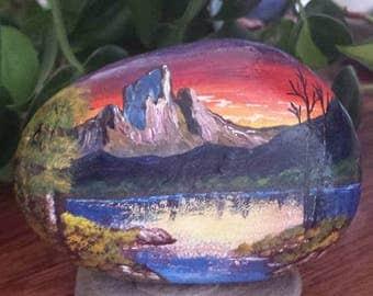 Alaskan Sunset - Hand painted beach rock