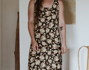 90s Floral Floor Length Dress