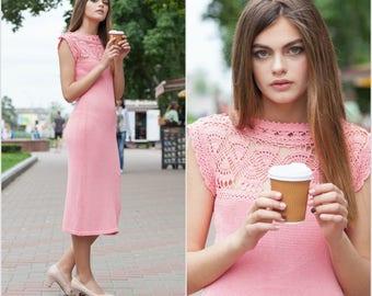 Bridesmaid dress lace dress pink knit summer dress sleeveless dress midi casual dress fashion knitwear cotton pink dress pastel color dress
